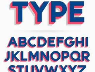 3d字体字体和字母表矢量设计