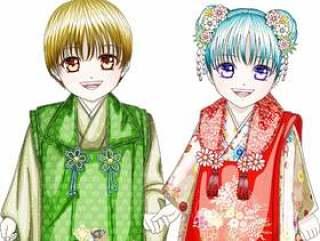 Shichigosan 3·和服·2个笑着用手笑的小孩