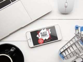 Black friday mockup with smartphone