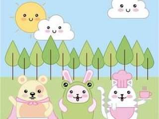 卡哇伊猫兔老鼠动物穿服装卡通