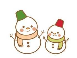 父母和孩子的雪人