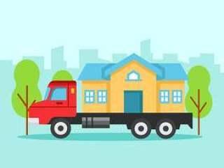 在移动卡车的房子
