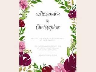 勃艮第和粉红色的婚礼邀请设计