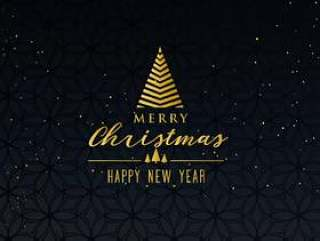 简单优质快乐圣诞贺卡设计在黑暗的背景