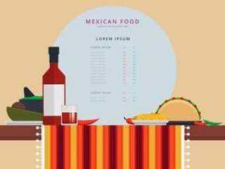 表与墨西哥传统食物矢量