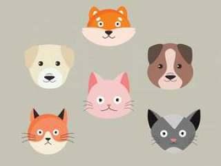 小狗和小猫字符矢量