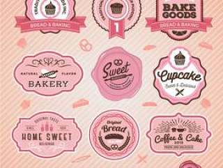糖果店的甜面包店和面包标签设计一套