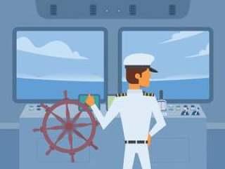拿着船轮子传染媒介的船长