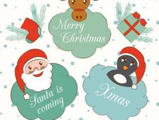 可爱的卡通圣诞节和新年元素集