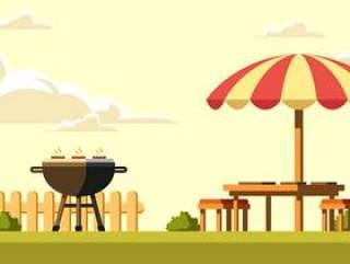 后院烧烤在下午矢量