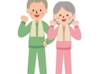 一个男人和一个女人微笑地构成一个肠道