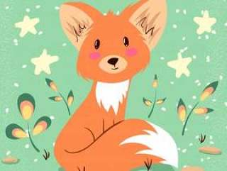Cute fox illustration. Idea for print t-shirt.