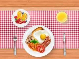 早餐菜单的例证用煎蛋和莓果在木桌上
