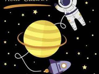 宇航员探索土星矢量