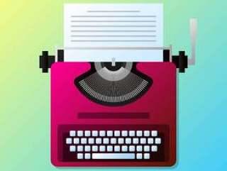 与纸列表插图的手动复古时尚打字机