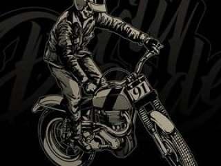 与葡萄酒摩托车的头骨车手
