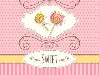 棒棒糖插图。矢量手绘卡与水彩溅。甜波尔卡圆点和条纹设计。邀请卡。