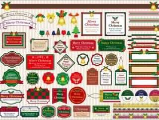 圣诞节复古标签材料集合
