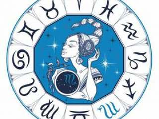 The Scorpio astrological sign as a beautiful girl.