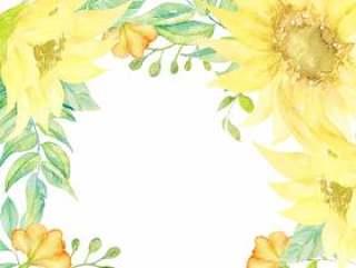 水彩手绘向日葵框架(透明)