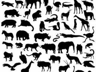 非洲野生动物园野生动物剪影剪贴画
