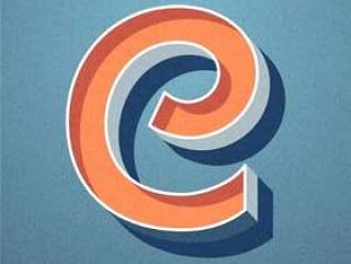 3D复古字母C排版矢量设计