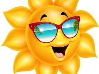 卡通太阳人物戴着太阳镜