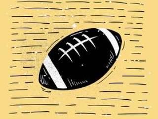 手绘的美式足球剪影矢量