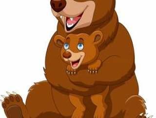 动画片母亲和婴孩棕熊