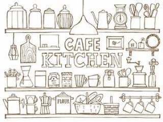 咖啡厅厨房架子手绘白色