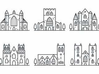 修道院线性图标