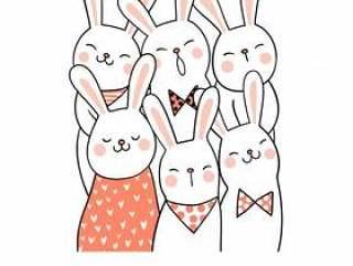 用甜美的颜色和最好的朋友画出可爱的兔子