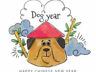有中国帽子的中国狗有竹子和云彩的