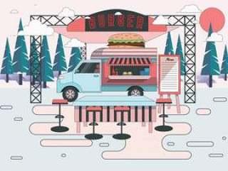 食物卡车插画矢量