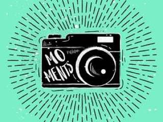 手绘相机剪影矢量
