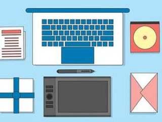 平面矢量设计师桌面插图