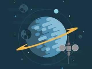 太空电梯与飞船,星球和明星插图