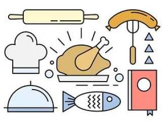 食物图标在最小的设计中的向量