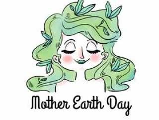 绿色的头发和叶子的可爱女人母亲世界地球日