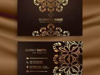 优质豪华名片设计与金色花卉装饰