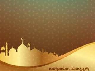 美丽的伊斯兰背景与金色清真寺