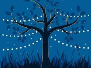 与装饰光的不可思议的树党例证的
