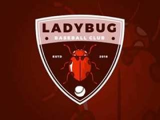 与现代徽章模板传染媒介例证的平的昆虫夫人臭虫棒球俱乐部吉祥人商标