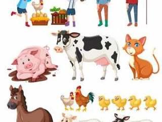 农夫和动物在白色背景