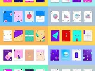 30款简洁现代几何扁平化海报创意平面广告ui设计封面版式矢量素材模板