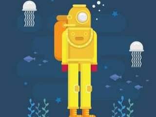 水肺潜水的插图。潜水员插图。