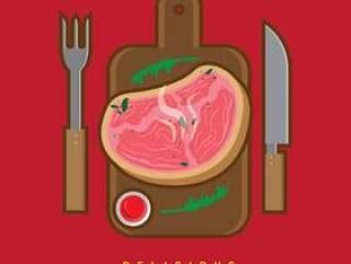 可口小牛肉牛排矢量