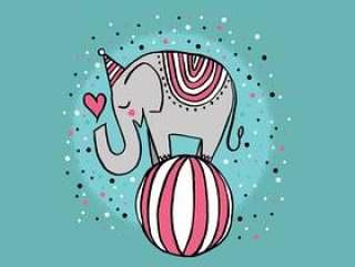 可爱的马戏团大象