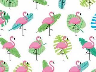 粉红色的野生叶和火烈鸟快乐的春天夏天