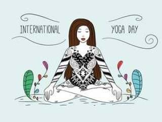 瑜伽与装饰品和五颜六色的叶子的妇女姿势